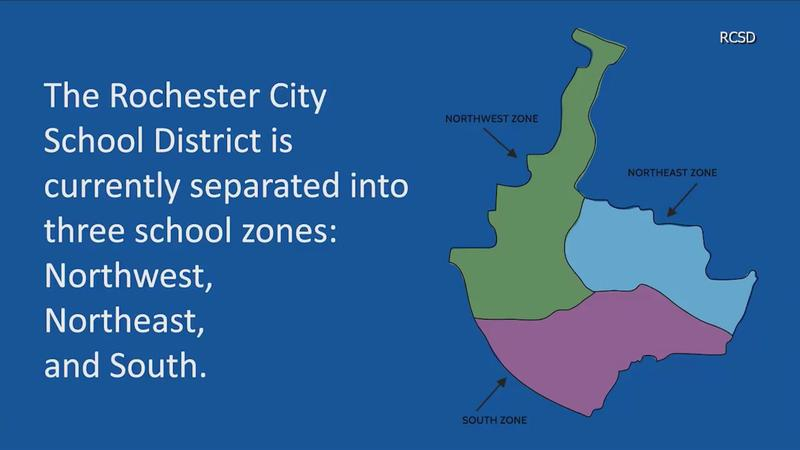 A map of the Rochester City School District's current zones.