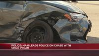 Police: Man leads police on chase with child in car