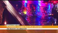 Flooding causes multiple crashes on I-490