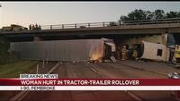 Tractor-trailer rolls off Thruway, lands on Route 5 in Pembroke