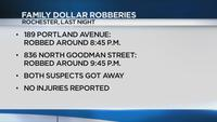 Police search for suspects in 2 armed robberies